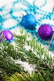 Christmas decorations and fir tree Royalty Free Stock Images