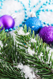 Christmas decorations and fir tree Royalty Free Stock Image
