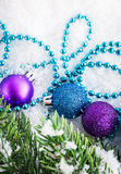 Christmas decorations and fir tree Stock Photo