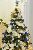 Christmas decorations on christmas fir-tree taken closeup. New year. Christmas stock photo
