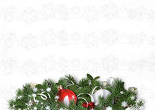 Christmas decorations and firtree on a white textural background Stock Photos