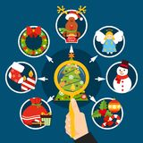 Christmas Decorations Flat Composition. With magnifier in hand, xmas tree, holiday elements on blue background vector illustration Royalty Free Stock Photography