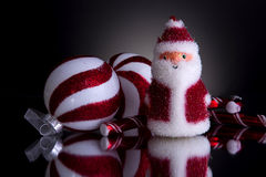 Christmas decorations with fluffy santa Royalty Free Stock Photography