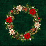Christmas decorations in the form of a wreath on green vintage background Royalty Free Stock Photography
