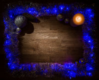 Christmas decorations frame with candle light Royalty Free Stock Photo