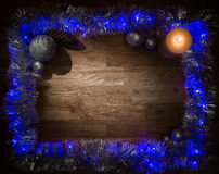 Christmas decorations frame with candle light Stock Photo