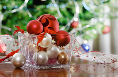Christmas decorations in front of Christmas tree Stock Photo