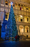 Christmas decorations in front of the town hal Royalty Free Stock Image