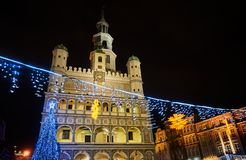 Christmas decorations in front of the town hall Royalty Free Stock Image