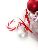Christmas decorations in front of white background Stock Images