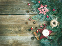 Christmas decorations: fur-tree branches, colorful glass balls, Stock Images