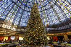 Christmas decorations at Galeries Lafayette store, Paris, France Royalty Free Stock Images