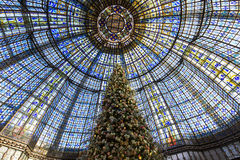Christmas decorations at Galeries Lafayette store, Paris, France Royalty Free Stock Photo