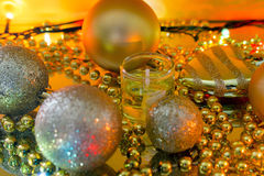 Christmas decorations garland out of focus Royalty Free Stock Photography