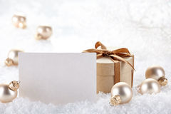 Christmas decorations and gift with blank card stock photos