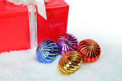 Christmas decorations and gift box Stock Photos