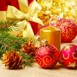 Christmas decorations with gift box Stock Images