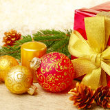 Christmas decorations with gift box Stock Photos