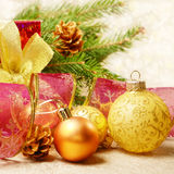 Christmas decorations with gift box Royalty Free Stock Image
