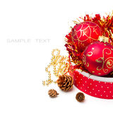Christmas decorations in gift box Royalty Free Stock Images