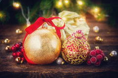 Christmas decorations with gift box Royalty Free Stock Photography