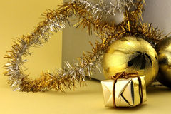 Christmas decorations and gift box Royalty Free Stock Photography