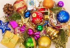Christmas decorations and gift box Stock Image
