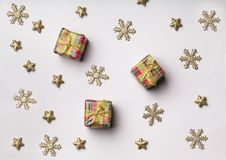 Christmas decorations and gift boxes on. Christmas decor boxes new year leisure table background Stock Image