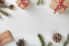 Christmas decorations and gift boxes on. Christmas decor decorations boxes new year flat lay leisure Royalty Free Stock Images