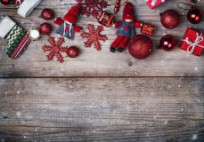 Christmas decorations and gift boxes on. Christmas decor boxes new year leisure table background Royalty Free Stock Photos