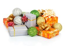 Christmas decorations and gift boxes Stock Photos