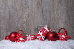 Christmas decorations with gift boxes Royalty Free Stock Image