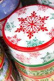 Christmas decorations - gift cans for cookies Stock Image