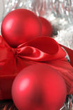 Christmas decorations and gift close-up Stock Photography