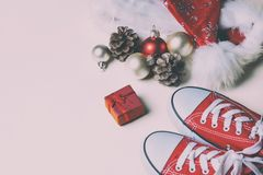 Christmas decorations, gift and gumshoes Royalty Free Stock Image