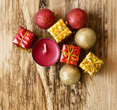 Christmas Decorations with Gifts and Glitter Balls Royalty Free Stock Photography