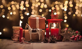 Christmas decorations with gifts Stock Images
