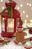 Christmas Decorations with Gingerbread cookie man Stock Images