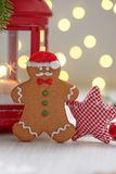 Christmas Decorations with Gingerbread cookie man Stock Image