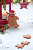 Christmas Decorations with Gingerbread cookie man Royalty Free Stock Photo