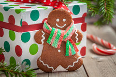 Christmas Decorations with Gingerbread man Royalty Free Stock Photos