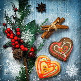 Christmas decorations and gingerbreads Royalty Free Stock Photos