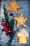 Christmas decorations and gingerbreads Royalty Free Stock Photography