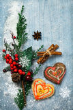 Christmas decorations and gingerbreads Royalty Free Stock Images