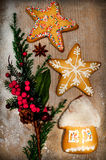 Christmas decorations and gingerbreads Stock Photo