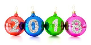 Christmas decorations glass balls with numbers 2018. On white background 3d Royalty Free Stock Image