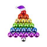 Christmas decorations glass balls shape of fir tree LGBTQ community rainbow flag color, purple Santa Claus hat white background