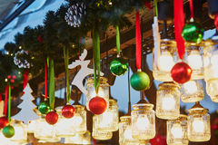 Christmas decorations and glass lanterns on Parisian Christmas market Royalty Free Stock Photos