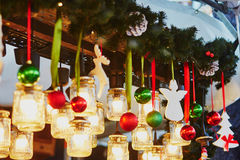 Christmas decorations and glass lanterns on Parisian Christmas market Stock Images