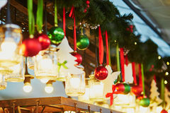 Christmas decorations and glass lanterns on Parisian Christmas market Stock Photo
